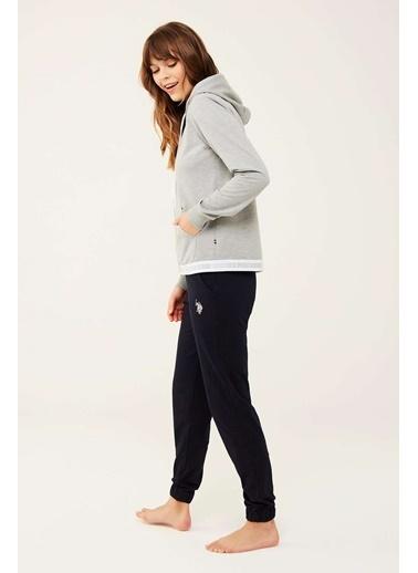 U.S. Polo Assn. Kadın Lacivert Kapşonlu Ev Giyim Gri